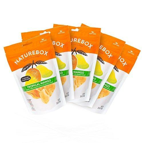 Unsweetened & Unsulfured Non-GMO Dried Mangoes (5 bags X 3.6 oz) Food & Drink NatureBox