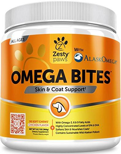 Omega 3 Alaskan Fish Oil Chew Treats for Dogs - With AlaskOmega for EPA & DHA Fatty Acids - For Shiny Coats & Itch Free Skin - Natural Hip & Joint Support + Promotes Heart & Brain Health - 90 Count