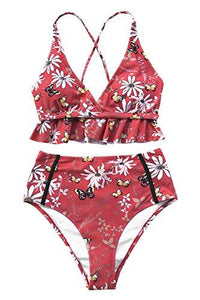 CUPSHE Women's Rambling Rose High-Waisted Push Up Bikini Set (Medium (USA 8/10), Red)