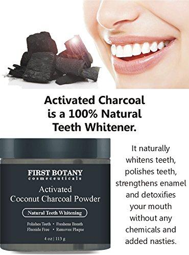 100% Natural Activated Coconut Charcoal Powder 4 oz for All Natural Teeth Whitening with Bentonite Clay- Professional Fluoride Free Teeth Whitening that Polishes Teeth & Freshens Breath