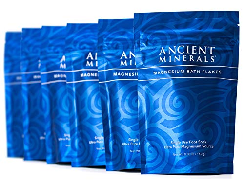Ancient Minerals Magnesium Bath Flakes Single-Use Magnesium Chloride Pouches (0.33lb Bag, Pack of 6)