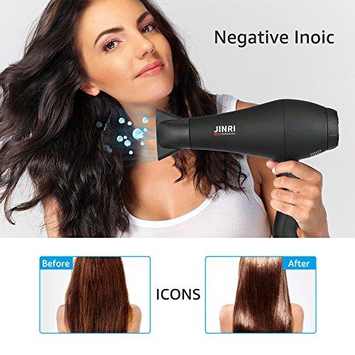 Ionic Infrared Hair Blow Dryer Professional with Diffuser for Women Salon Styling, Fast Quiet Hair Dryer for Thick Long Hair, Salon 1875W AC Motor