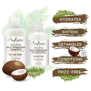 SheaMoisture 100% Virgin Coconut Oil Daily Hydration Shampoo & Conditioner | 13 fl. oz. Each