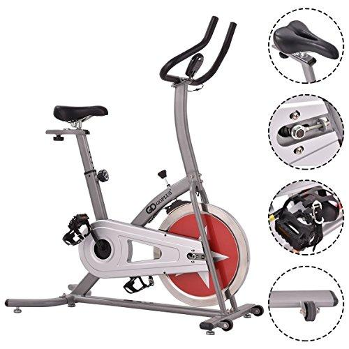 Goplus Stationary Bike Indoor Cycle Trainer Adjustable Exercise Bike Gym Cycling Cardio Workout Sport & Recreation Goplus