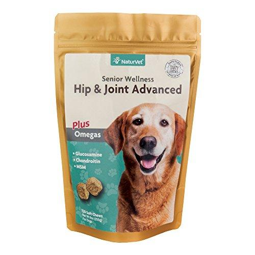 NaturVet Senior Wellness Hip & Joint Soft Chew Supplement for Dogs with Omegas for Advanced Joint Support by Animal Wellness NaturVet