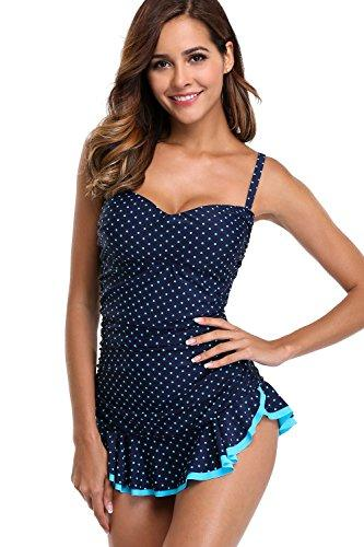Sociala Womens One Piece Skirted Bathing Suit Strapless Swimsuit L Blue Dot