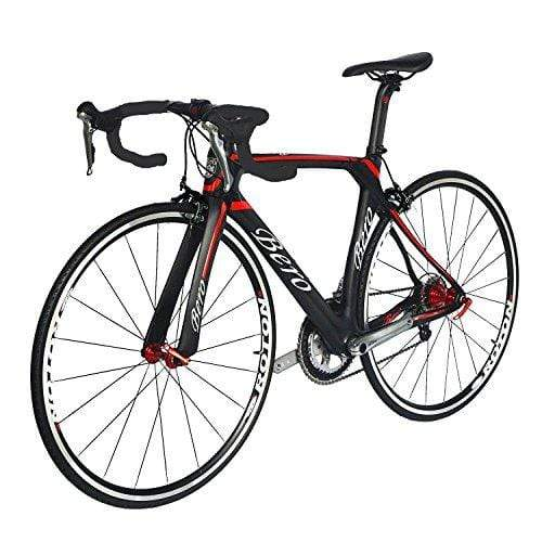 BEIOU 700C Road Bike Shimano 105 5800 11S Racing Bicycle T800 Carbon Fiber Bike Ultra-Light 18.3lbs CB013A-2 (Matte Black&Red, 560mm)