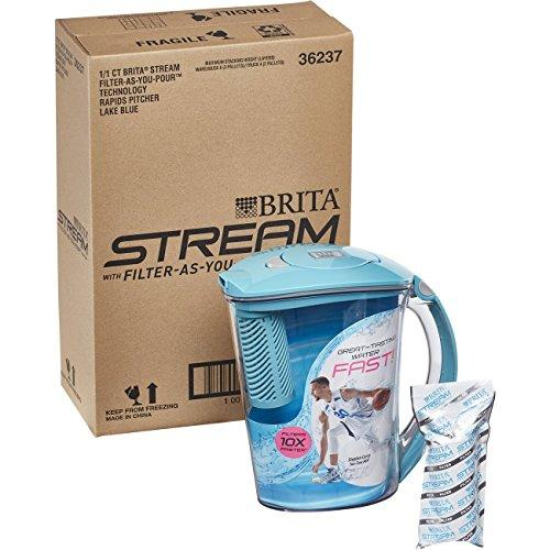 Brita 10 Cup Stream Filter as You Pour Water Pitcher with 1 Filter Accessory Brita