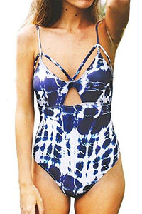 CUPSHE Women's Tie-Dyed Lace Up Padding One-Piece Swimsuit with Cutout (L)