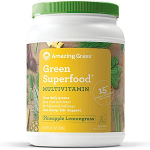 Amazing Grass Green Superfood Multi-Vitamin Powder with Wheat Grass and Greens, Flavor: Pineapple Lemongrass, 100 Servings