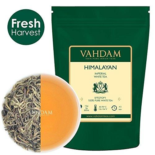 Imperial White Tea Leaves from Himalayas (25 Cups), World's Healthiest Tea Type Food & Drink Vahdam