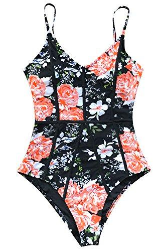 CUPSHE Women's Hidden Fragrance Print High Waisted One-Piece Swimsuit, Multicolor, Medium