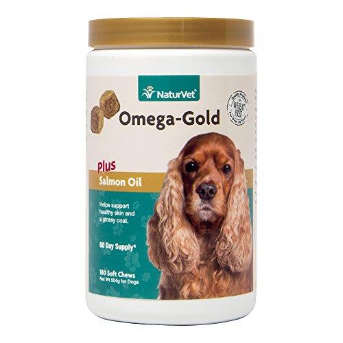 NaturVet Omega-Gold Plus Salmon Oil for Dogs, 180 ct Soft Chews, Made in USA Animal Wellness NaturVet