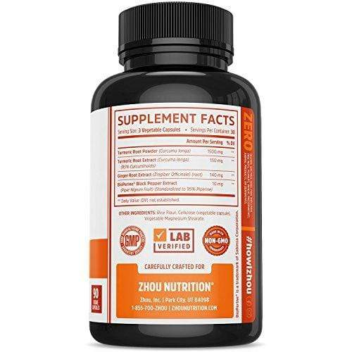Turmeric Curcumin and Ginger with Bioperine 1800 mg – Includes 95% Curcuminoids – Extra Strength Antioxidant for Maximum Joint Comfort and Mobility - Non-GMO & Gluten Free - 90 Veggie Capsules