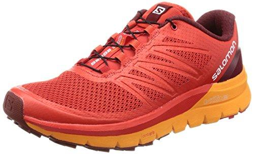 Salomon Men's Sense Pro Max Running Trail Shoes Fiery Red/Bright Marigold/Syrah 9.5