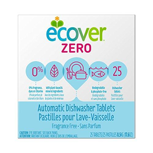 Ecover Automatic Dishwasher Soap Tablets, Zero (Fragrance-Free), 25 Count Dishwasher Detergent Ecover