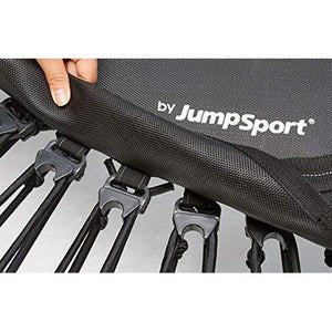 JumpSport 350 | Fitness Trampoline, In-Home Rebounder | Stable Exercise | Safe & Secure | No-Tip Arched Legs | Long Lasting Premium Bungees for Quality & Durability | 4 Workout Videos Included