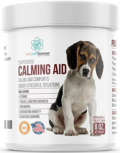 PET CARE Sciences Dog Calming Treats & Relaxant - Contains L Tryptophan for Composure : Dog Anxiety Relief : Stress : Separation Anxiety Proudly Made in USA.