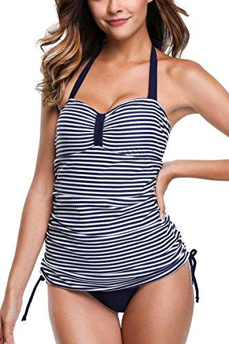 Sociala Womens Halter Striped Swimsuits Ruched Tankinis Bathing Suits XXL Navy