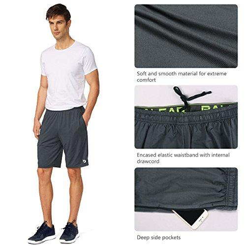 "Baleaf 10"" Men's Athletic Shorts Gym Workout with Pockets Gray Size L"