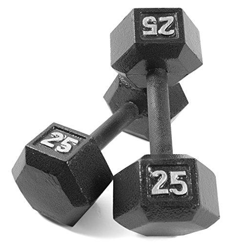 CAP Barbell Cast Iron Hex Dumbbell (Pair), Black, 25 lb