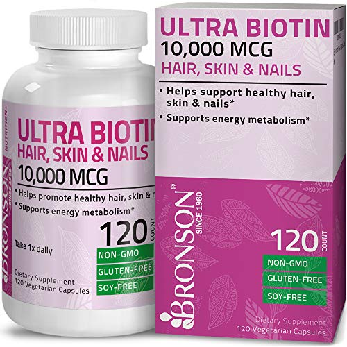 Bronson Ultra Biotin 10,000 mcg Hair Skin and Nails Supplement, Non-GMO, Gluten Free, Soy Free, 120 Vegetarian Capsules