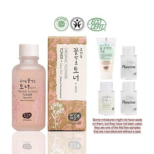 Whamisa [ Korean Skin Care Kit ] Organic Flowers Deep Rich Essence Toner 120ml / Double Rich Lotion 20ml / Cleansing Foam 20ml and 2 more Organic Random Miniatures - Naturally fermented, EWG Verified