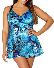 Holipick Women One Piece Plus Size Vintage Printed Ruffled V Neckline Cutout Swimdress Bathing Suit Blue M