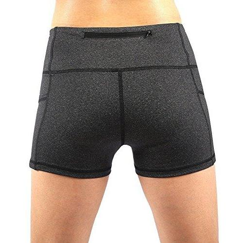 EAST HONG Womens Yoga Shorts Running Shorts Have Pockets (S, Grey)
