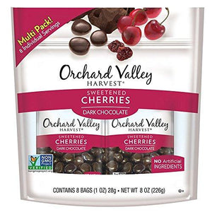 Orchard Valley Harvest Dark Chocolate Cherries, Non-GMO, 1 oz, 8 Count