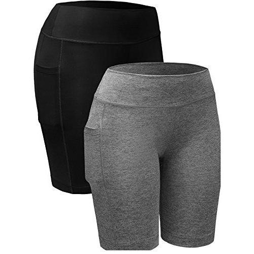 Neleus Women's 3 Pack Workout Compression Shorts with Pocket Activewear Neleus