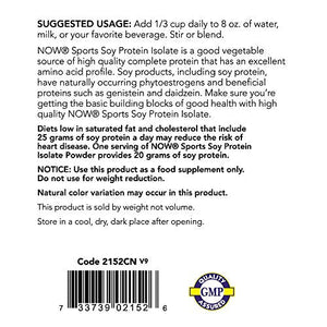 NOW Sports Soy Protein Isolate, Unflavored, 2-Pounds