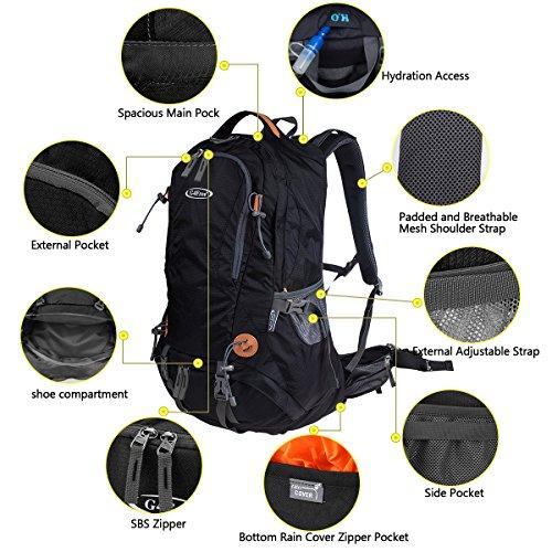 G4Free 50L Outdoor Backpack Camping Climbing Hiking Backpack for Backpacker Unisex Bag with Rain Cover(Black)