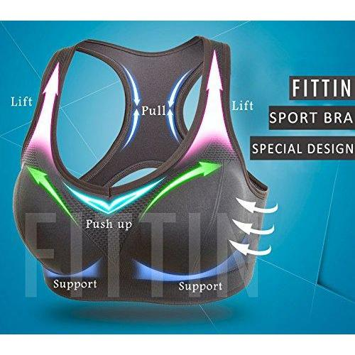 Fittin Womens Padded Sports Bras Wire Free with Removable Pads Grey ,XL,3 pack Activewear FITTIN