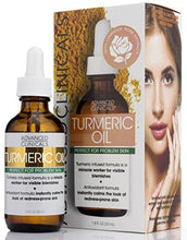 Advanced Clinicals Turmeric Oil for face. Antioxidant formula with Rose Extract and Jojoba oil for dry skin, redness, and skin blemishes. Large 1.8oz glass bottle with dropper.