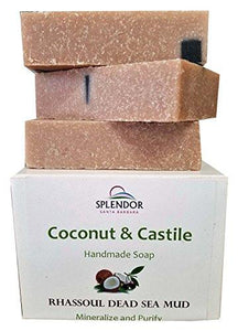 Rhassoul Dead Sea Mud Coconut Castile Soap with ORGANIC Shea butter. Handmade USA, Vegan, Natural, Moisturizing.