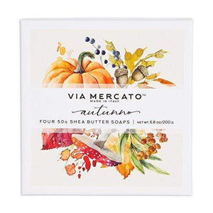 Via Mercato Natale Shea Butter Soap Boutique Luxury Gift Box (Set of 4, 50g Each) - Autunno