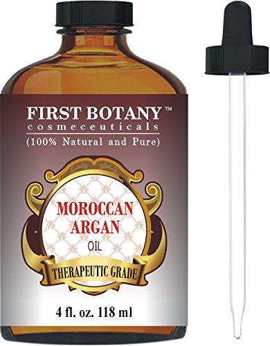 Moroccan Organic Argan Oil For Hair, Skin, Face, Nails, Cuticles & Beard 4 fl. oz. - Best Anti-Aging, Anti-Wrinkle, Triple Extra Virgin & Cold Pressed Moisturizer