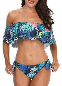 Holipick Off Shoulder 2 Piece Swimsuits Leaves Printed Bikini Tops for Women Blue M