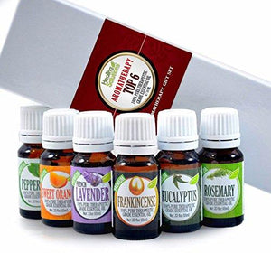 Aromatherapy Top 6-100% Pure Therapeutic Grade Basic Sampler Essential Oil Gift Set- 6/10 ml Kit