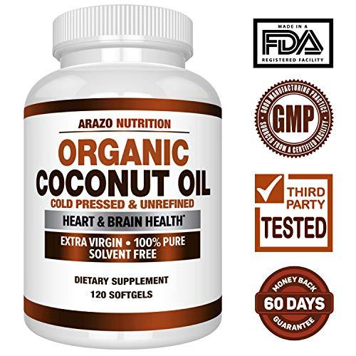 Organic Coconut Oil 2000mg - 100% EXTRA VIRGIN Cold Pressed for Weight Loss, Skin, Hair, Nails - 120 Softgel Capsules - Arazo Nutrition