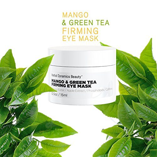 HD Beauty Mango + Green Tea Firming Eye Mask with Mango Butter, Apple Extract, Phospholipids and Caffeine For Dark Circles, Fine Lines, and Puffiness, 0.5 oz.