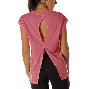 Open Back Workout Top Shirts - Yoga t-Shirts Activewear Exercise Tops for Women