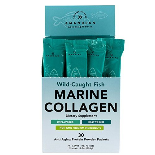 Premium Marine Collagen Peptides Stick Packs | Wild-Caught Fish | 30 Single Use Individual Convenience Packets | Anti-Aging, Paleo Friendly, Non-Gmo, Gluten Free, Unflavored | High Bioavailability Mix