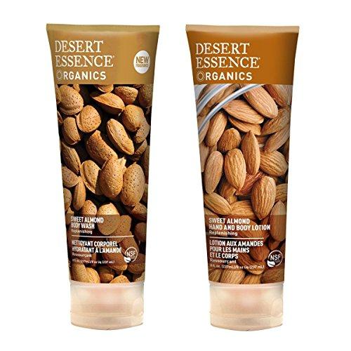 Desert Essence Sweet Almond Body Wash and Desert Essence Sweet Almond Hand and Body Lotion Bundle With Organic Sweet Almond Fruit Extract and Almond Oil, 8 fl oz each