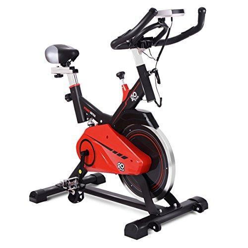 Goplus Exercise Bike Indoor Stationary Bicycle Cardio Fitness Cycle Trainer Heart Pulse w/LED Display for Home Gym Cycling Workout (Style 6) Sport & Recreation Goplus