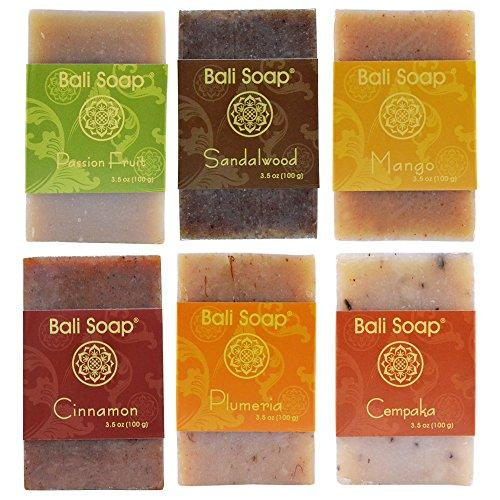 Bali Soap - Natural Soap Bar Gift Set, Face Soap or Body Soap, 6 pc Variety Soap Pack (Passion Fruit, Sandalwood, Mango, Cinnamon, Plumeria, Champaca) 3.5 Oz each