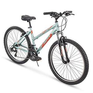 "Huffy 26"" Escalate Womens 21-Speed Hardtail Mountain Bike, 17"" Aluminum Frame, Trigger Shift, Gloss Metallic Mint"