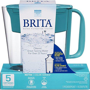 Brita Small 5 Cup Metro Water Pitcher with Filter - BPA Free - Turquoise Accessory Brita
