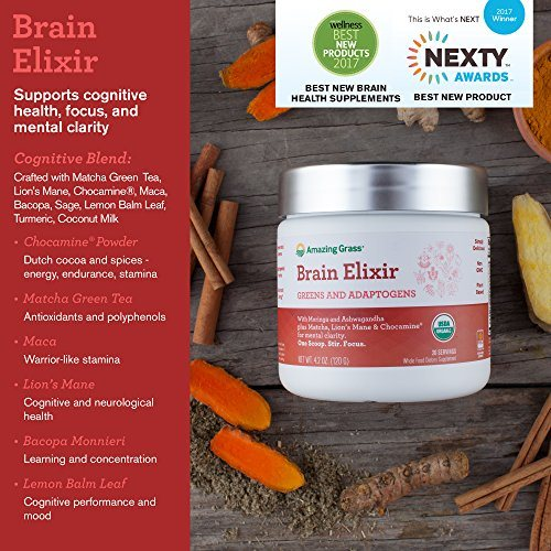 Amazing Grass Brain Elixir, Greens and Adaptogens Organic Powder, 20 Serving Tub, 4.2 oz